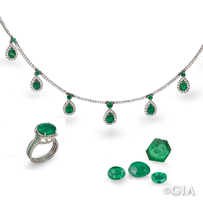 Capoeirana emerald ring and necklace