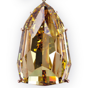 GIA graded 407.48-carat Fancy Deep brownish yellow shield step-cut diamond is the center piece diamond.