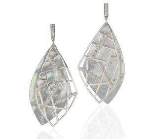 """""""Maze"""" leaf earrings, set in sterling silver and Mother of Pearl."""