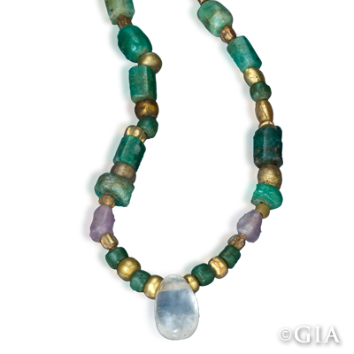 Ancient Egyptian Necklace 100 Ce Roman Empire String Of Mixed Beads Emerald Gold Glass Quartz Amethyst And Faience
