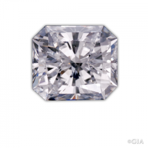Notice the characteristics of the radiant cut: a square or rectangular mixed cut with cut corners. Photo: Robert Weldon/GIA.