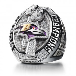 The most recent Super Bowl ring, made for the Baltimore Ravens. Courtesy of Jostens