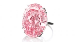 The Pink Star, a GIA-graded 59.60 carat Fancy Vivid pink diamond, sold for $83.2 million at a Sotheby's auction Nov. 12, 2013 in Geneva. Photo courtesy of Sotheby's.