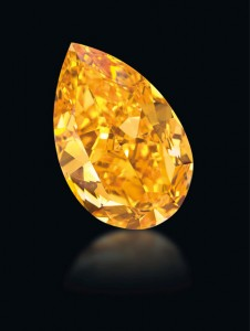The Orange, a GIA-graded 14.82 carat Fancy Vivid orange diamond, sold for $35.5 million at a Christie's auction Nov.11, 2013 in Geneva. Photo courtesy  Denis Hayoun Diode SA Geneva