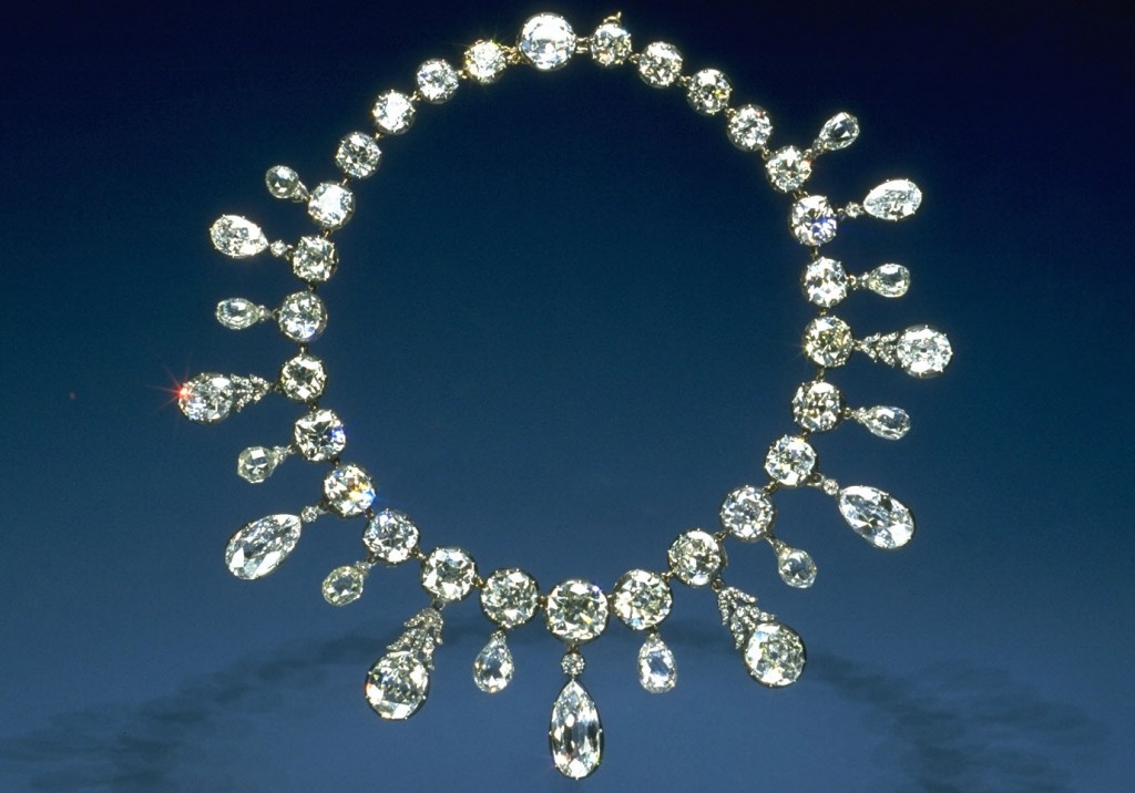 The Napoleon Diamond Necklace, in the Smithsonian National Museum of Natural History, is set with 260 carats of old-mine cut diamonds. - Chip Clark, Courtesy Smithsonian Institution