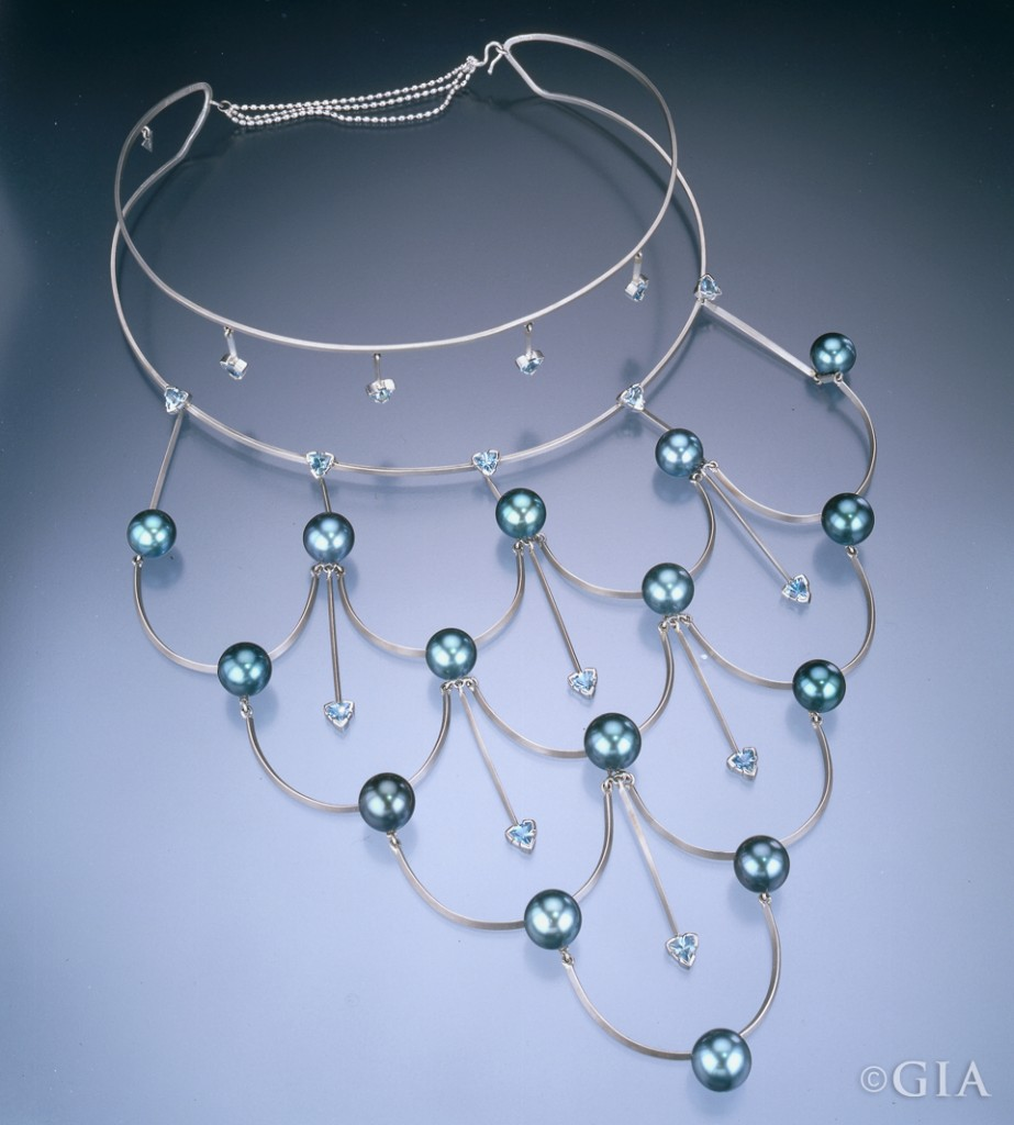 This platinum, Tahitian cultured pearl and aquamarine necklace by Holly K. Croft won third place in the 2001 AGTA Spectrum Awards as well as the Platinum Honors Division of the Awards.