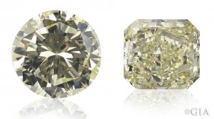 This 6+ ct round brilliant cut diamond (left) was recut to a 4.61 ct radiant (right) to improve the appearance of its yellow color. Photo Elizabeth Schrader/GIA. Courtesy: the Scarselli family.
