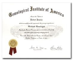 as GIA's Graduate Gemologist Diploma
