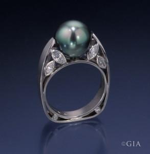 Stargazer tahitian pearl ring