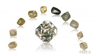 Courtesy American Siba Corp. (cut stone), Cora Diamond Corp. (rough crystals)
