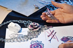 Micro-mosaic jewelry making process from the Rose Carpet collection. Courtesy of SICIS Jewels.