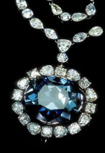 The 45.52-ct Hope Diamond encircled with diamonds. (c) Corbis
