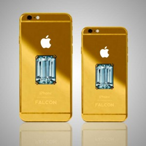 An aquamarine pops in these solid 18K gold iPhones. Courtesy of FALCON Luxury