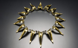 Alexandra Hart's Sunflower Necklace looks like it could have been on the movie set of a dystopian thriller. The edgy piece is made of sterling silver with 22k gold bimetal hammer-formed and linked elements. Photo by David Harrison, courtesy Alexandra Hart.