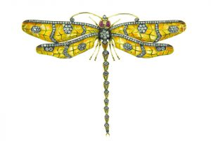 "This enamel and diamond butterfly brooch/pendant takes flight because of the artful use of plique-a-jour, which was used to create its wings. Photo courtesy Sinork Agdere ""Lord Jewelry"""