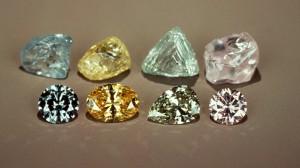 polished-rough-colored diamonds