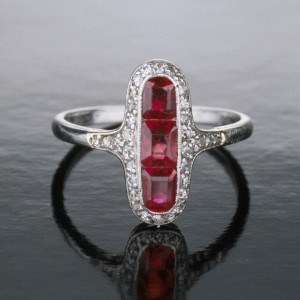 Three rubies framed by diamonds make this Art Deco right-hand ring a perfect choice for a cocktail party.  Photo © GIA and Tino Hammid, courtesy  Benjamin Zucker.