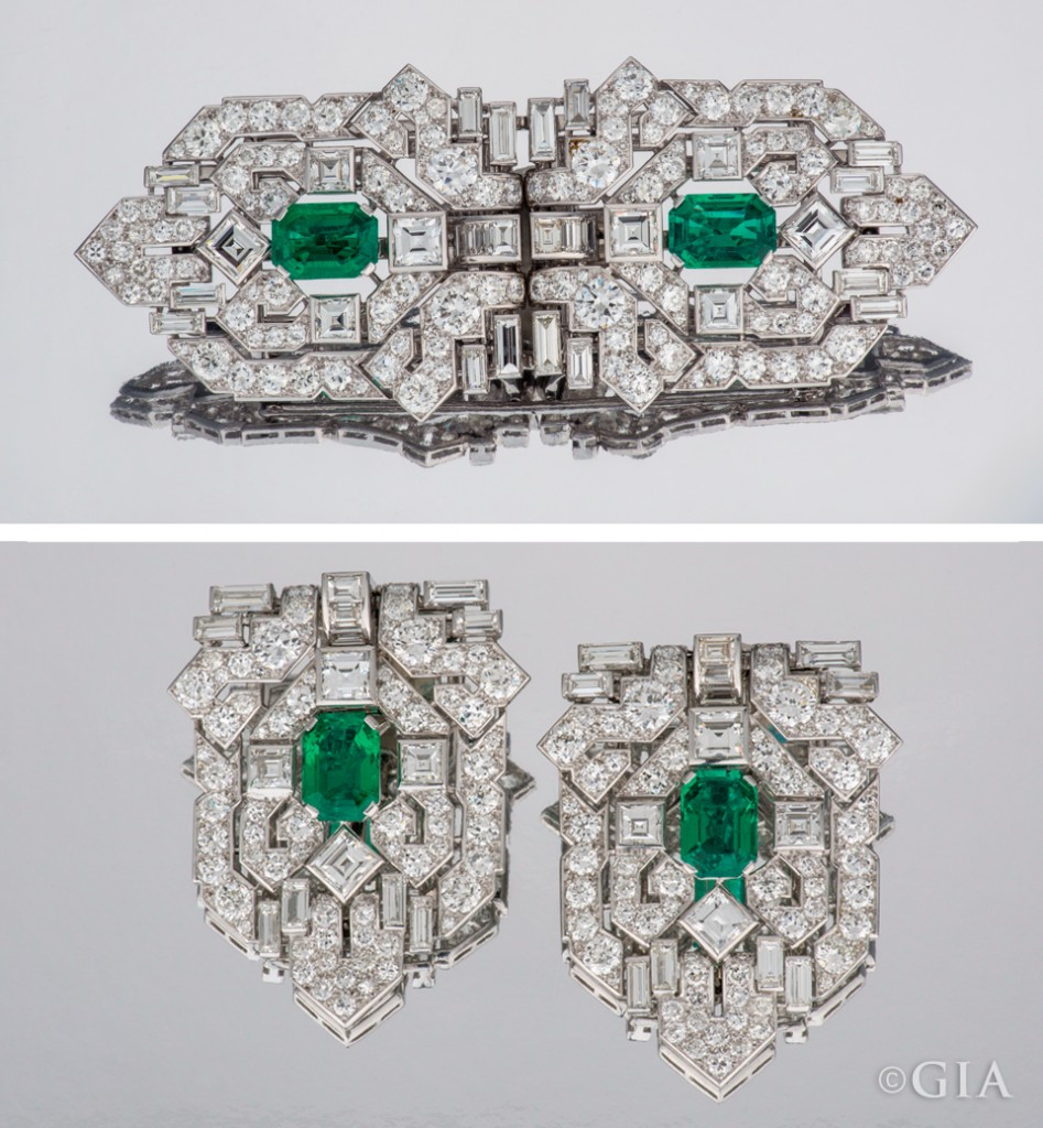 This Art Deco brooch converts into two clips. A total of 19 carats of diamonds and two 3-carat emeralds glitter in the brooch. Photo by Robert Weldon/GIA, courtesy Kathryn Bonanno