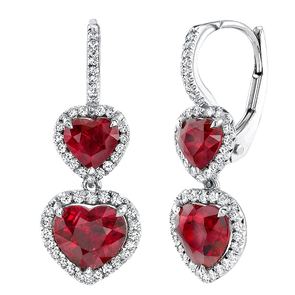 Platinum and ruby earrings. Courtesy of Omi Privé.
