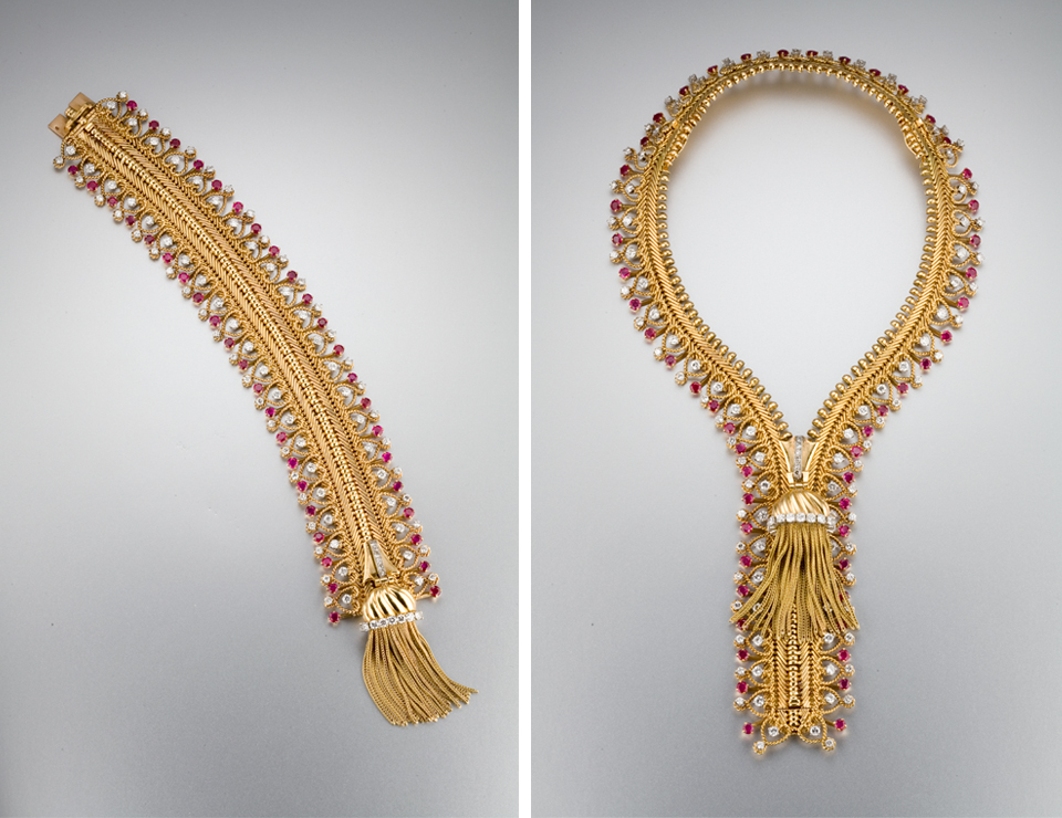 "Van Cleef & Arpels made several ruby and diamond Zip bracelets that become necklaces (circa 1955). Two additional pieces (not shown separately) are added to the 7"" bracelet to make the transformation into a necklace (they can be seen in the image on the right at 2:00 and 10:00). Photo © GIA and Tino Hammid, courtesy of a private collector"