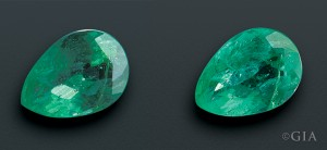 Before (L) and after (R): This emerald was cleaned in an ultrasonic cleaner, which dramatically changed its appearance.