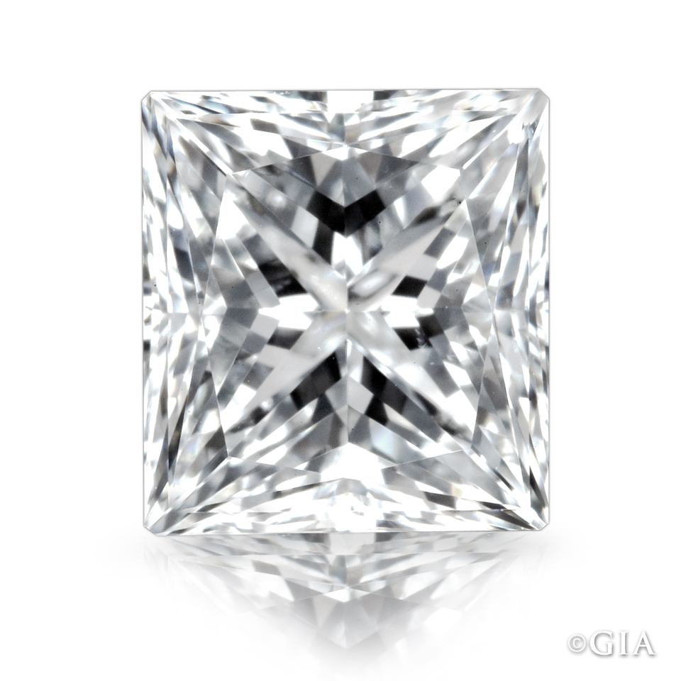 It's easy to see the symmetry of the larger facets in this princess cut diamond. The diamond also has a desirable balance of light and dark areas.