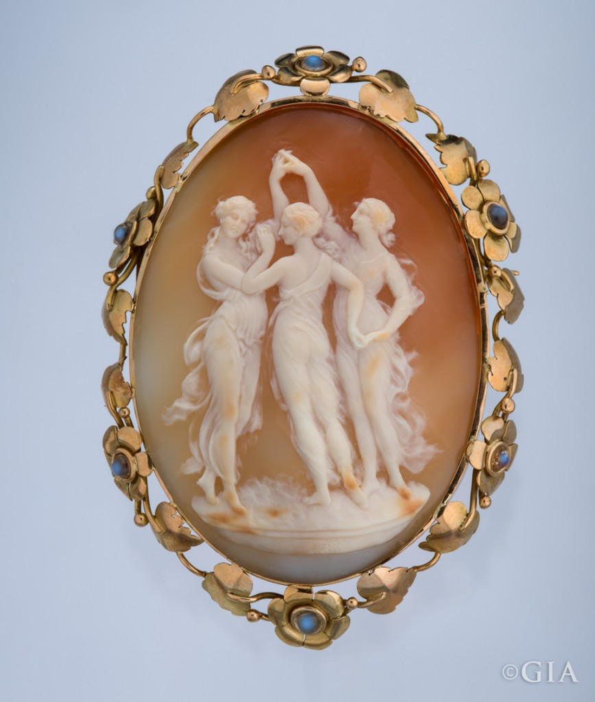The handiwork in this stunning cameo of the Three Graces is so artful that it is worthy of gracing a museum. No ultrasonic cleaner for this piece! Photo by Robert Weldon/GIA, courtesy of MMH Collection.