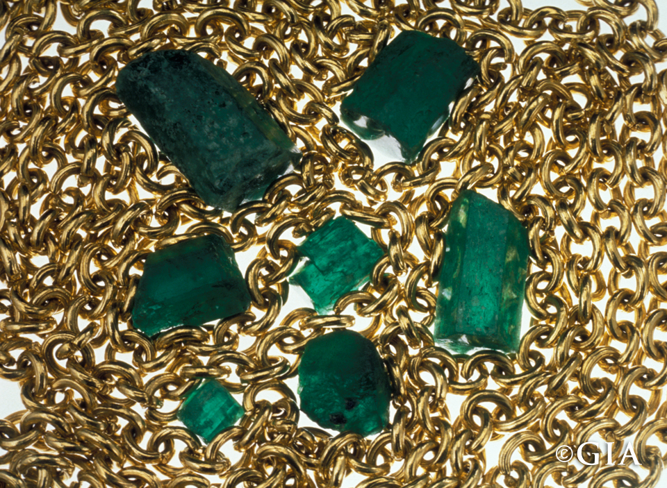 The riches of the New World on display: A gold chain and emeralds from the Atocha. Photo by Shane F. McClure/GIA.