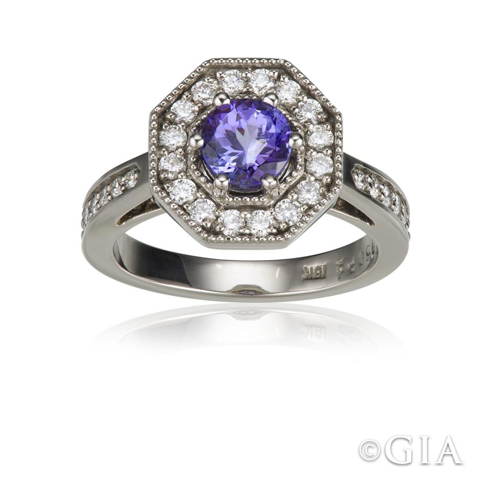 white gold-tanzanite-diamond-ring