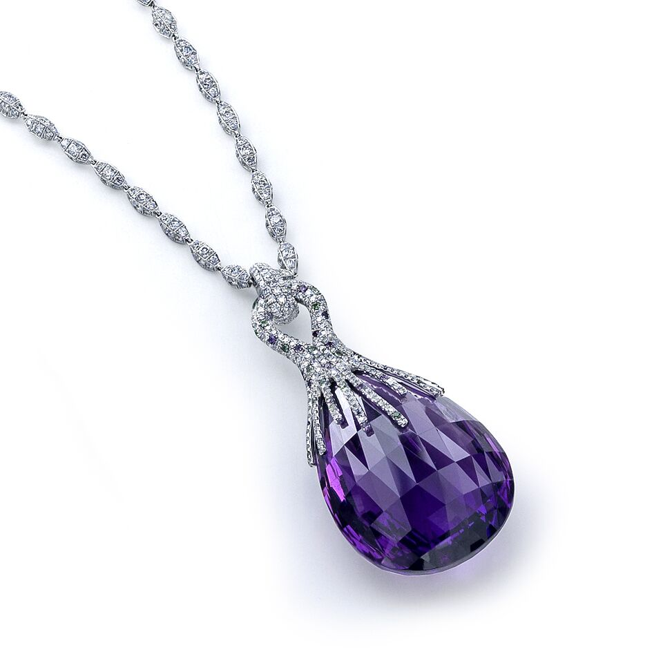 Diamond and Purple Stone Pendant