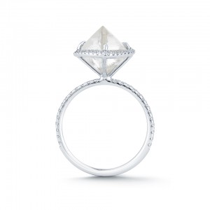 The Covet engagement ring features a 4.53 ct rough octahedron diamond  with a halo mounting in platinum.  Courtesy: Diamond in the Rough.