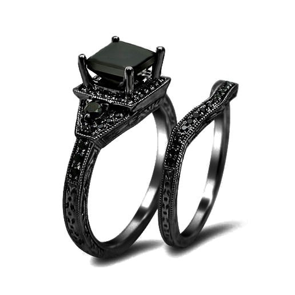 Black Princess Cut Diamond Engagement Ring Wedding Set