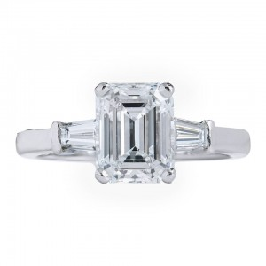 Tapered baguette side stones embellish this 2.01 ct emerald cut diamond platinum engagement ring by Bvlgari. Courtesy: 1stdibs.com