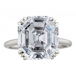 This 8.06 ct Asscher cut diamond engagement ring by Cartier, circa 1935, features a unique 12 prong platinum setting. Courtesy: 1stdibs.com