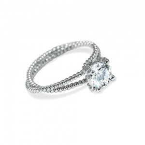 Would she like this unique Platinum Eleganza solitaire engagement ring with a braided double shank? The center stone weighs 7.94 carats and is surrounded with 1.20 carats of colorless round brilliant cut and shield cut diamonds. Courtesy: Platinum Guild International, USA