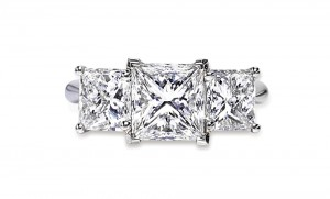 Are three better than one? Perhaps, when it's this three-stone ring set with princess cut diamonds. Courtesy: DeBeers