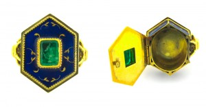 A 1 ct rectangular emerald and delicate enameling decorates this Victorian era 18K yellow gold poison ring.  Courtesy: 1stdibs.com.