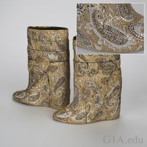 Diamond Studded Boots. Photo: Orasa Weldon/GIA. Courtesy: Diarough-Uni-Design and A.F. Vandevorst