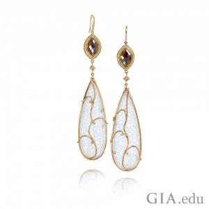 Make a statement with statement earrings in jade and gold. Courtesy: Jewelers of America.