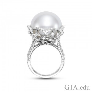 Mastoloni Signature Collection lace cocktail ring featuring a 17.4 mm South Sea cultured pearl with a lace motif setting crafted in 18K white gold, and adorned by brilliant diamonds (1.08 carats total weight). Courtesy: Jewelers of America