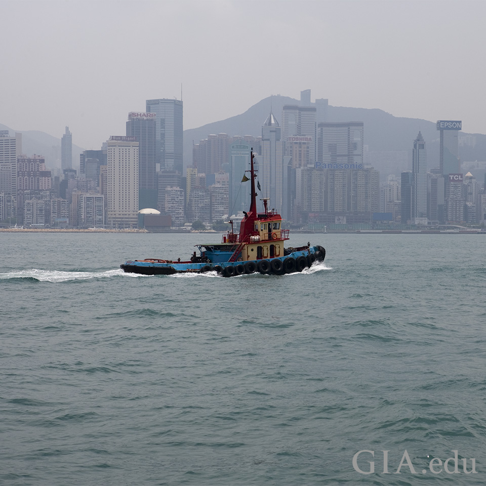 Hong Kong viewed from the water.