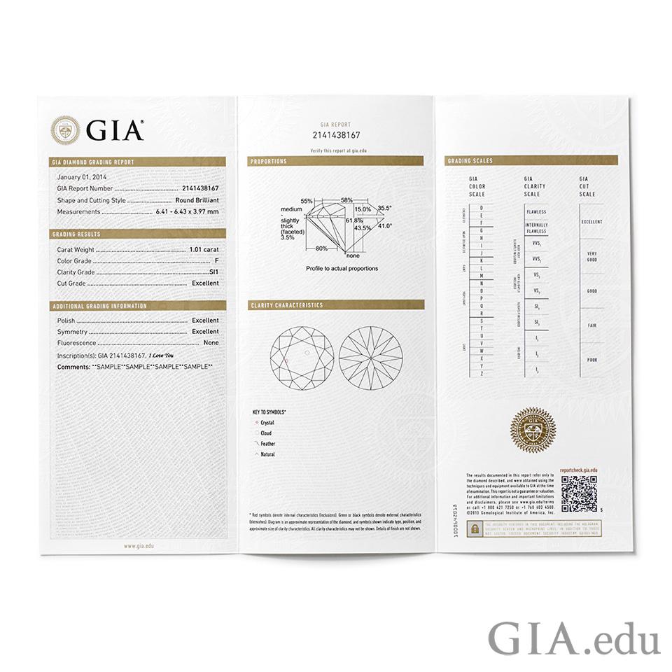GIAダイヤモンドグレーディングレポートおよびダイヤモンドドシエレポート。
