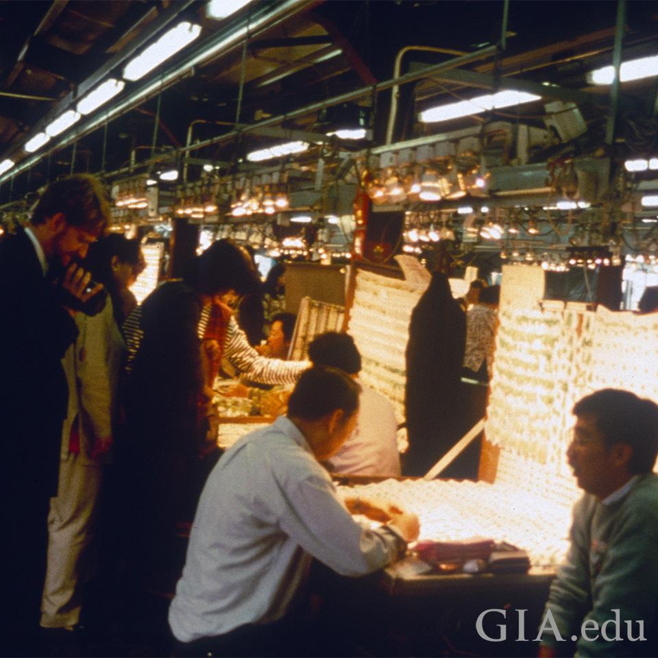 Jade market in Hong Kong.