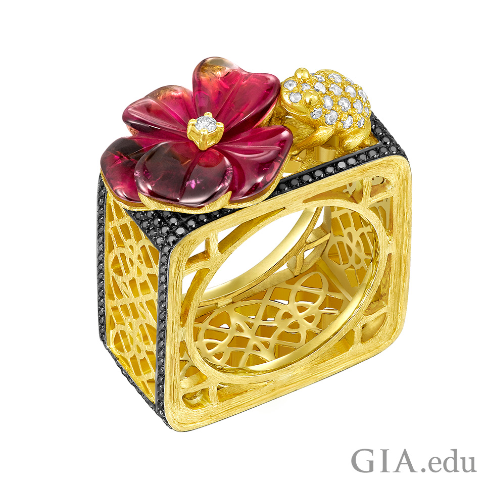 Dickson Yewn Floral Lattice Ring featuring black diamonds and tourmalines.