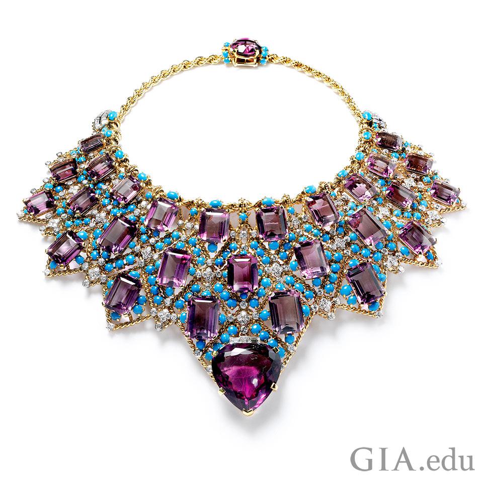 Amethyst bib necklace