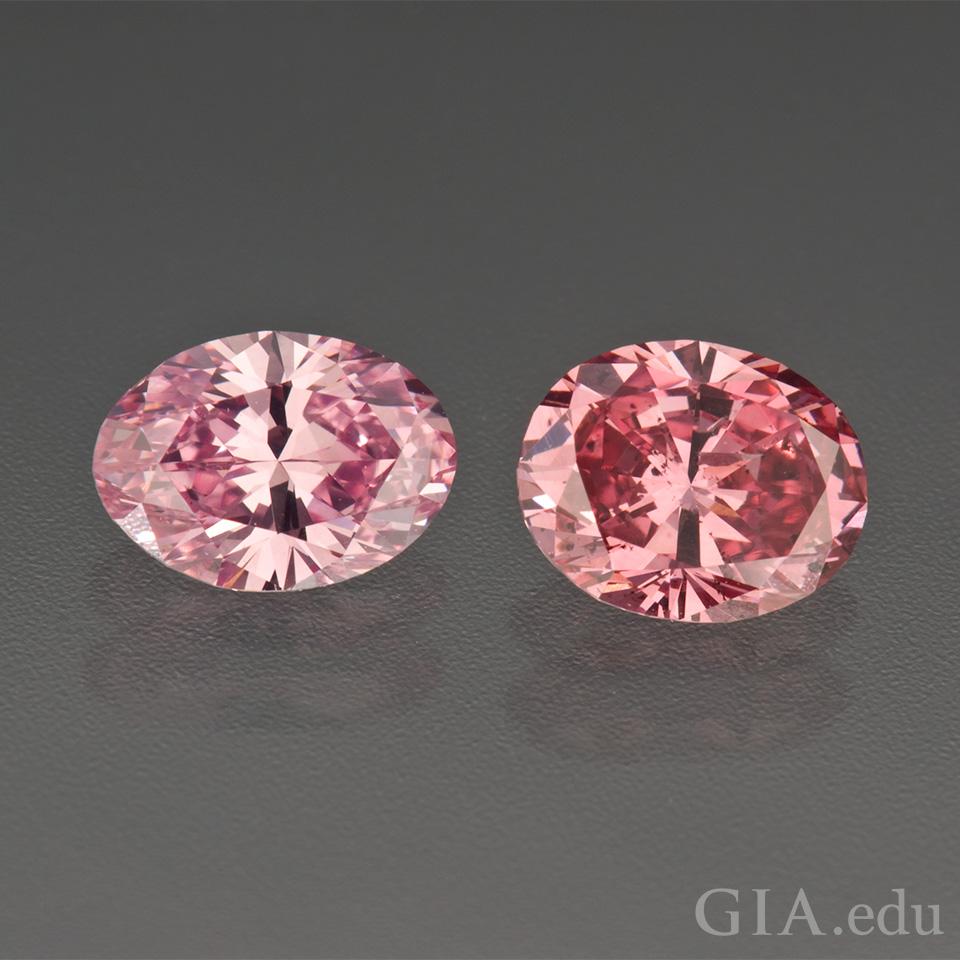 2個のピンク ダイヤモンド。