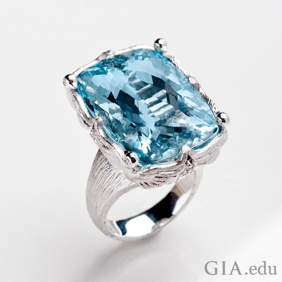 Diamond Ring With Aquamarine