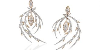 Red 18K gold and 24.60tcw diamond earrings