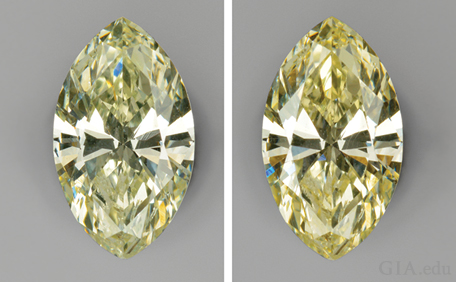 Two views of a colored diamond