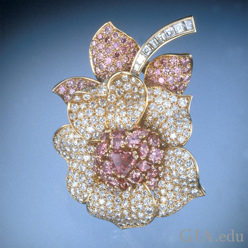 Fancy Pink and colorless diamond flower brooch